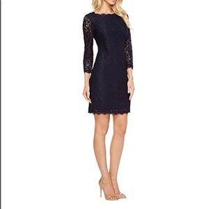Adrianna Papell Formal Navy Lace Sheath Dress